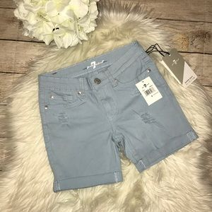 NEW 7FAM Blue Distressed A Pocket Shorts